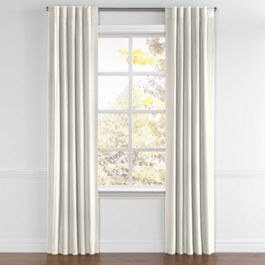 Cream Slubby Linen Back Tab Curtains Close Up