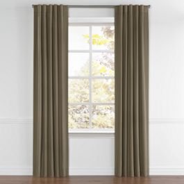 Dark Brown Slubby Linen Back Tab Curtains Close Up