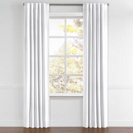Bright White Slubby Linen Back Tab Curtains Close Up