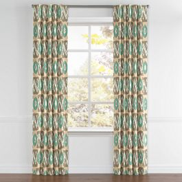 Handwoven Tan & Teal Ikat Back Tab Curtains Close Up