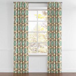 Handwoven Tan & Teal Ikat Back Tab Curtains Close Up