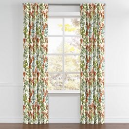Coral Watercolor Floral Back Tab Curtains Close Up