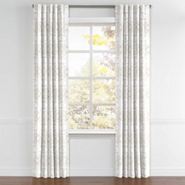 Light Tan & White Scroll Back Tab Curtains Close Up