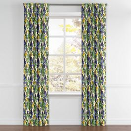Green & Blue Watercolor Back Tab Curtains Close Up