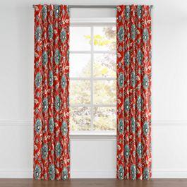 Aqua & Red Floral Back Tab Curtains Close Up