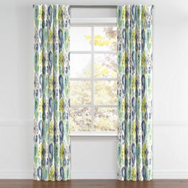 Aqua, Blue & Green Ikat Back Tab Curtains Close Up