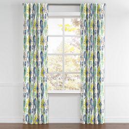 Aqua, Blue & Green Ikat Back Tab Curtains Close Up