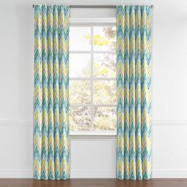 Gray, Green & Blue Chevron Back Tab Curtains Close Up