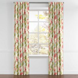 Aqua & Pink Rose Back Tab Curtains Close Up