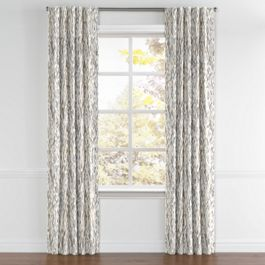 Tan & Gray Faux Bois Back Tab Curtains Close Up