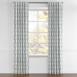 Blue Diamond Block Print Back Tab Curtains Close Up