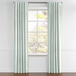 Handwoven Aqua Stripe Back Tab Curtains Close Up