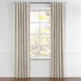 Gray Ogee Block Print Back Tab Curtains Close Up
