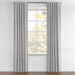 Black Ticking Stripe Back Tab Curtains Close Up