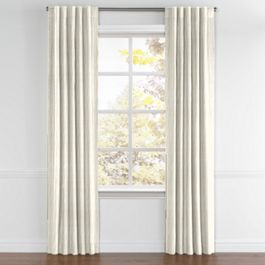 Tan & Brown Chalk Line Back Tab Curtains Close Up