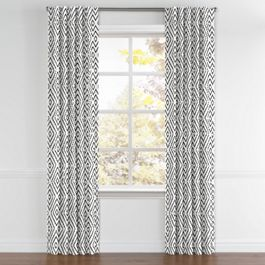 Black & White Diamond Back Tab Curtains Close Up