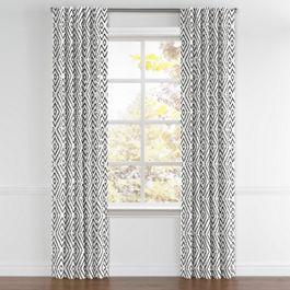 Black & White Diamond Back Tab Curtains Close Up