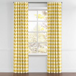 Bright Yellow Chevron Back Tab Curtains Close Up
