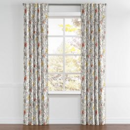 Modern Gray Floral Back Tab Curtains Close Up