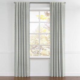 Yellow & Blue Mod Geometric Back Tab Curtains Close Up