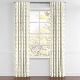 Embroidered Light Yellow Chain Back Tab Curtains Close Up