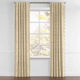 Gold & Tan Embroidered Quatrefoil Back Tab Curtains Close Up
