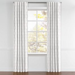 Embroidered Gray Diamond Back Tab Curtains Close Up