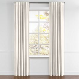 Ivory & Silver Stripe Back Tab Curtains Close Up