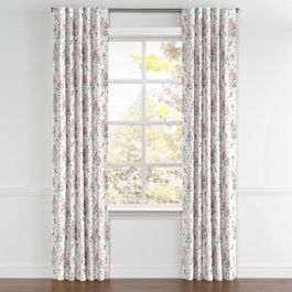 Pink & Gray Lotus Flower Back Tab Curtains Close Up