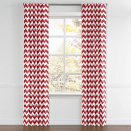 White & Red Chevron Back Tab Curtains Close Up