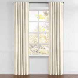 Golden White Metallic Linen Back Tab Curtains Close Up