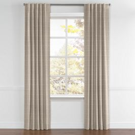Silvery Gray Metallic Linen Back Tab Curtains Close Up