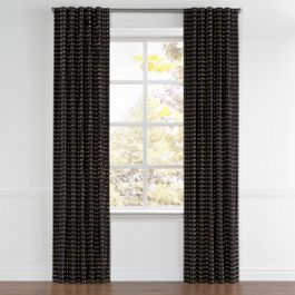 Gold Studded Black Back Tab Curtains Close Up