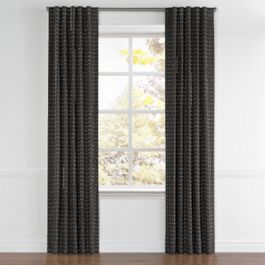 Silver Studded Charcoal Back Tab Curtains Close Up