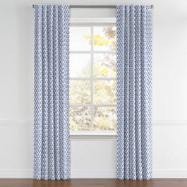 Nautical Blue Scallop Back Tab Curtains Close Up