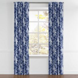 Royal Blue Koi Fish Back Tab Curtains Close Up