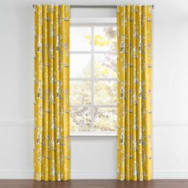 Purple & Yellow Chinoiserie Back Tab Curtains Close Up