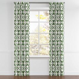 Asian Green Trellis Back Tab Curtains Close Up