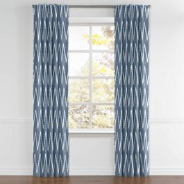 Tribal Navy Blue Chevron Back Tab Curtains Close Up