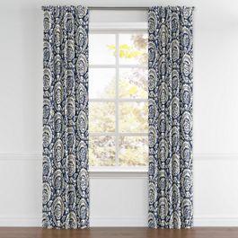 Natural & Blue Botanical  Back Tab Curtains Close Up