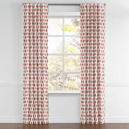 Gray & Red Hexagon Back Tab Curtains Close Up