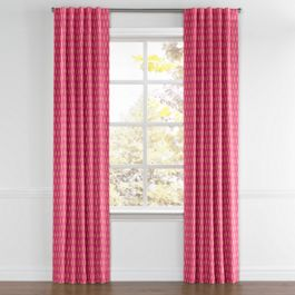 Pink & Orange Diamond Back Tab Curtains Close Up