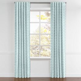 Aqua Blue Block Print Back Tab Curtains Close Up