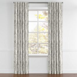 Gray Fan Leaf Back Tab Curtains Close Up