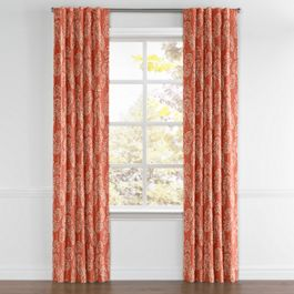 Coral Red Fan Leaf Back Tab Curtains Close Up