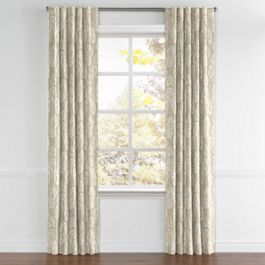 Beige Fan Leaf Back Tab Curtains Close Up