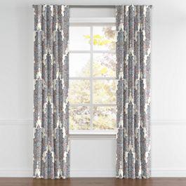 Coral & Blue Paisley Damask Back Tab Curtains Close Up