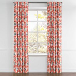 Blue & Pink Coral Leaf Back Tab Curtains Close Up