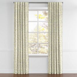 Yellow & Gray Scallop Back Tab Curtains Close Up