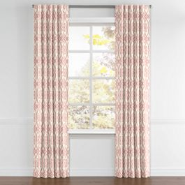 Scrolled Pink Trellis Back Tab Curtains Close Up